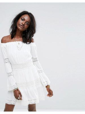 MISSGUIDED Cheesecloth Crochet Bardot Dress