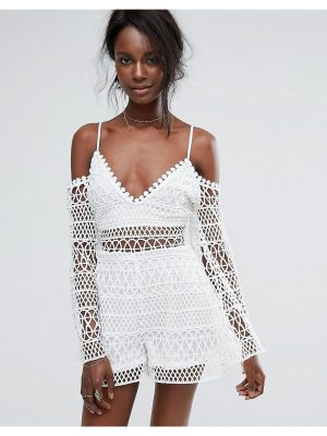 MISSGUIDED Crochet Cold Shoulder Romper
