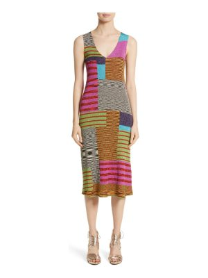 Missoni metallic patchwork stripe knit dress