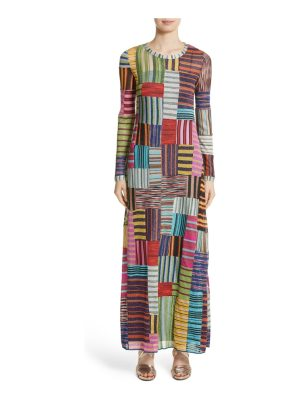 Missoni metallic patchwork stripe knit maxi dress