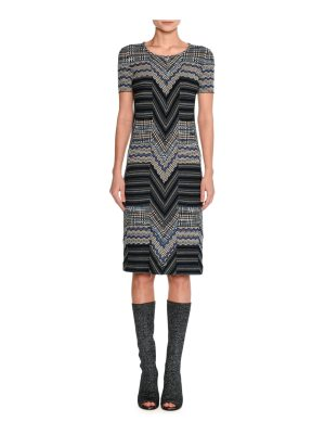 Missoni Short-Sleeve Patchwork Jacquard Dress