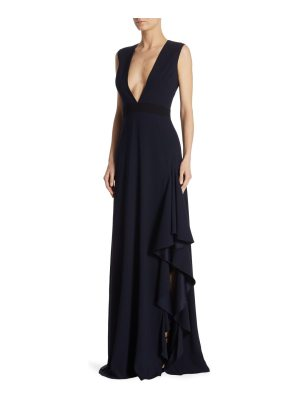 ML Monique Lhuillier Bridesmaids ruffled v-neck crepe gown