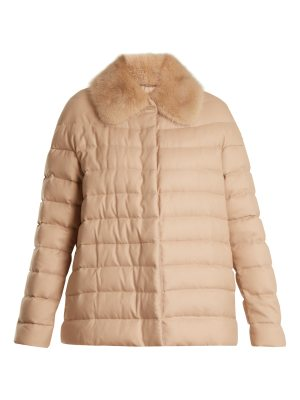 MONCLER GAMME ROUGE champlain fur trimmed quilted down cashmere jacket