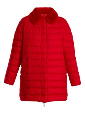 MONCLER GAMME ROUGE winnipeg fur trimmed quilted down cashmere coat