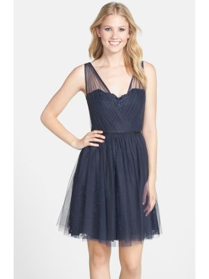 Monique Lhuillier Bridesmaids bridesmaids tulle overlay lace fit & flare dress