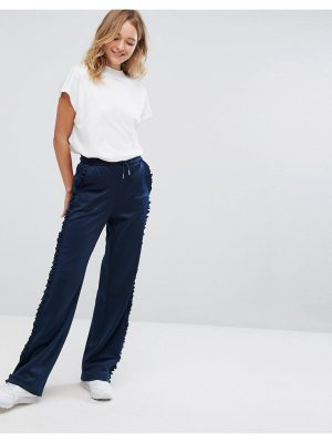 Monki Ruffle Side Wide Leg Pants
