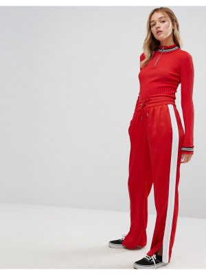 Monki Satin Wide Leg Sporty Pants