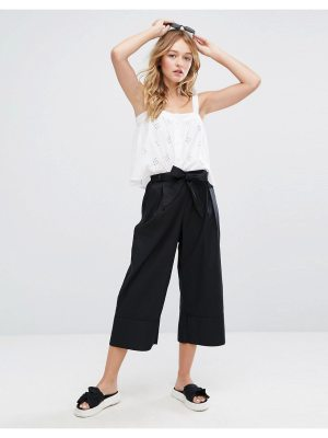 Monki Wide Leg Tie Front Culotte Pants