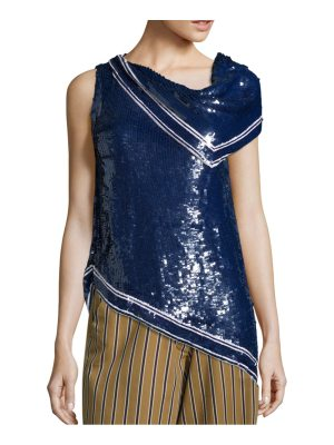 Monse One-Shoulder Sequin Blouse