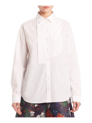 C dric Charlier Pleated Front Poplin Button-Up
