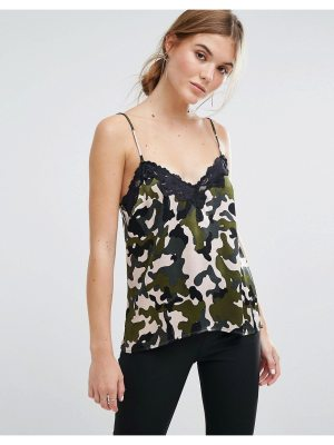 Moss Copenhagen Cami Top In Camo With Lace Trim