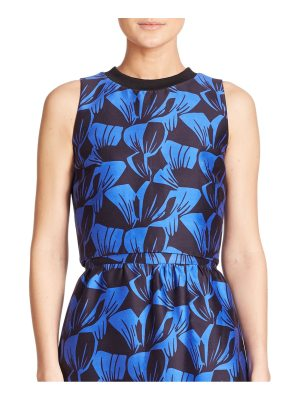 Mother of Pearl Morley Leaf-Print Cotton & Silk Cropped Top