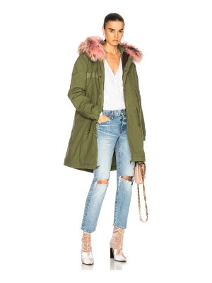 Mr & Mrs Italy Army Quilted Canvas Parka with Raccoon Fur