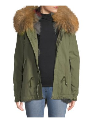 Mr & Mrs Italy Army Shell Mini Parka with Multi Fur Fox