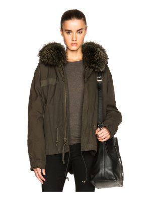 Mr & Mrs Italy Mini Canvas Parka With Rabbit & Raccoon Fur