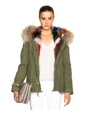 Mr & Mrs Italy Mini Fox Army Parka With Fox & Raccoon Fur