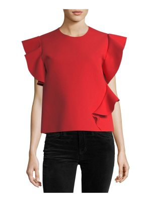 MSGM Ruffle-Sleeve Jewel-Neck Ponte Top