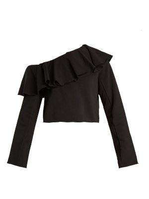 MSGM Ruffled one-shoulder cotton sweatshirt