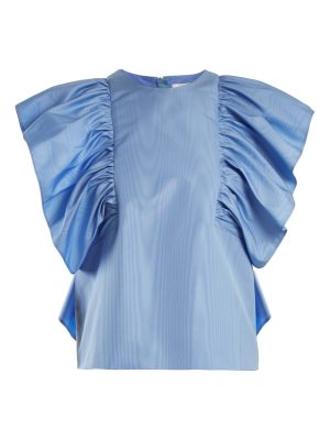 MSGM Ruffled-sleeve moire top