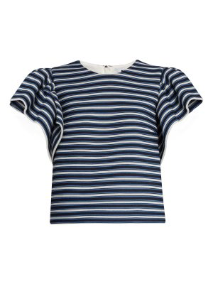 MSGM Ruffled-sleeve striped cotton-blend top