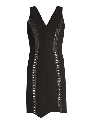 Mugler Leather-panelled V-neck wool-blend dress