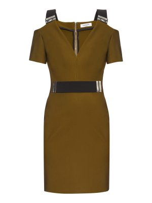 Mugler V-neck bi-colour dress