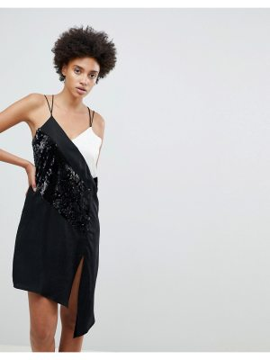 N12H At The Bar Contrast Sequined Slip Dress