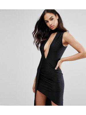 NaaNaa Plunge Front Midi Dress with Wrap Skirt