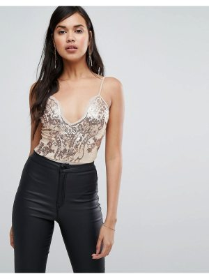 NaaNaa Scalloped Plunge Front Body in Sequin Lace