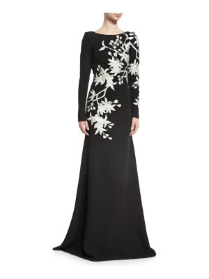 Naeem Khan Floral-Embroidered Long-Sleeve Gown