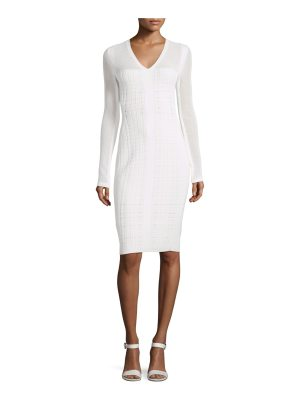 Narciso Rodriguez Long-Sleeve V-Neck Grid Dress