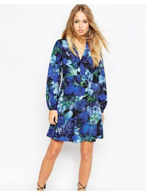 Needle & Thread Enchanted Floral Print Skater Dress With Bell Sleeve