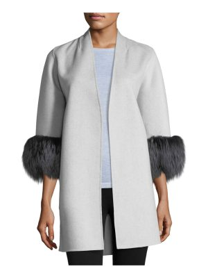 Neiman Marcus Cashmere Collection Luxury Cashmere Cocoon Jacket w/ Fox Fur Cuffs
