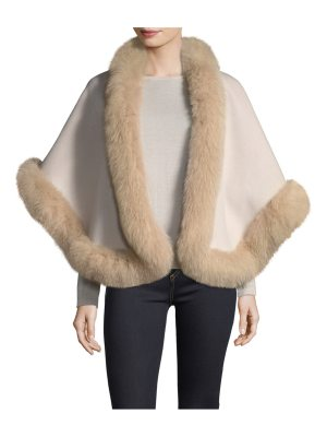 Neiman Marcus Cashmere Collection Luxury Double-Faced Cashmere Short Cape w/ Fox Fur Trim
