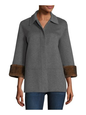 Neiman Marcus Cashmere Collection Luxury Double-Faced Cashmere Cropped Jacket w/ Rabbit Fur Cuffs