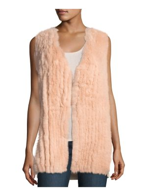 Neiman Marcus Cashmere Collection Luxury Fox Fur Vest w/ Sequin-Trim Cashmere Back
