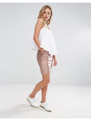 Neon Rose Metallic Pu Mini Skirt
