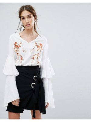 Neon Rose V-Neck Top With Layered Ruffle Sleeves And Floral Embroidery