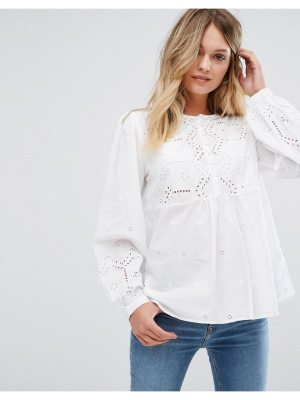 New Look Cutwork Button Front Blouse