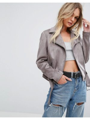 New Look Faux Suede Biker Jacket