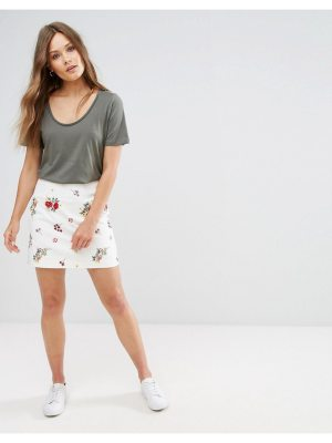 New Look Floral Embroidered Skirt