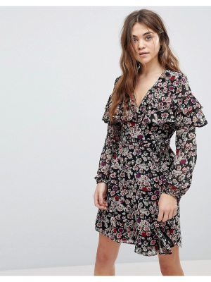 New Look floral print tier sleeve wrap dress