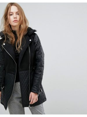 New Look Quilted Longline Biker Jacket