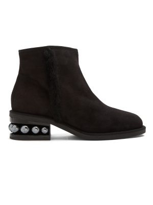 Nicholas Kirkwood Casati faux-pearl heeled suede ankle boots