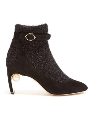 Nicholas Kirkwood Lola pearl-heeled tinsel and suede ankle boots