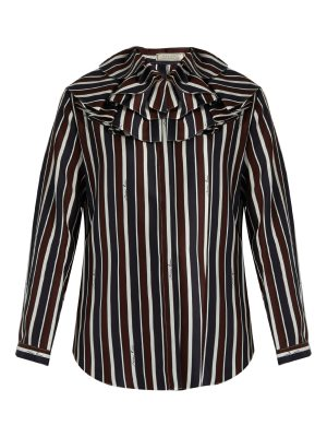 Nina Ricci Striped exaggerated-collar silk top