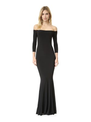 Norma Kamali kamali kulture off shoulder fishtail gown