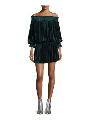 Norma Kamali Smocked Velvet Peasant Off-Shoulder Dress