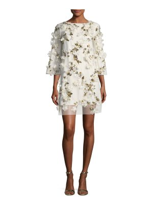 Notte by Marchesa Embellished 3D Floral Sequin Tunic Cocktail Dress