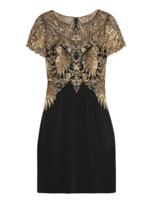 Notte by Marchesa metallic embroidered tulle and stretch